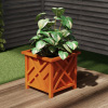 Square Planter Box- Terracotta Colored Lattice Container for Flowers & Plants- Includes Bottom Insert-Pot for Garden, Patio & Porch Use by Pure Garden