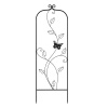 Garden Trellis-For Climbing Plants- 46-Inch Black Decorative Leafy Vine & Butterfly Metal Panel-For Roses, Vegetable Plants & Flowers by Pure Garden