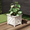 Square Planter Box- White Lattice Container for Flowers & Plants- Includes Bottom Insert- Outdoor Pot- Garden, Patio & Porch Use by Pure Garden