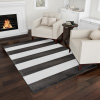 Breton Stripe Area Rug- 5x7 Charcoal Gray & Ivory Plush Carpet- Contemporary Look- Textured Backing- Floor Covering for Home & Office by Lavish Home