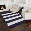 Breton Stripe Area Rug- 8x10 Navy Blue & Ivory Plush Carpet- Contemporary Look- Textured Backing- Floor Covering for Home & Office by Lavish Home