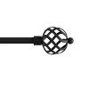 3/4-Inch Curtain Rod- Decorative Twisted Sphere Finials & Hardware-For Home Decor in Bedroom, Living Room & Kitchen- 48-84-Inch by Lavish Home (Black)