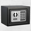 Digital Security Safe Box for Valuables - Compact Steel Lock Box with Electronic Combination Keypad by Stalwart- Black