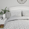 Comforter Set with Exclusive Radiance Design-3 Piece Full/Queen Bed Set with Shams, Gray & Off-White Geometric Pattern by Yorkshire Home