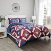 3-Piece Quilt Set ? Hypoallergenic Microfiber Homestead Patriotic Americana Print All-Season Blanket with Sham by LHC (Full/Queen)