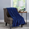 Velvet Throw ? Oversized Microfiber Velvet Solid Polyester Throw Blanket ? Breathable and Machine Washable by LHC (Midnight Blue)