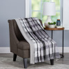 Blanket Throw ? Oversized Plush Woven Polyester Sherpa Fleece Plaid Throw ? Breathable and Machine Washable by LHC (Phantom)