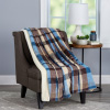 Blanket Throw ? Oversized Plush Woven Polyester Sherpa Fleece Plaid Throw ? Breathable and Machine Washable by LHC (Horizon)