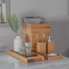 Bamboo Bath Accessories-5-Piece Set Natural Wood Tray, Lotion Dispenser, Soap Dish, Toothbrush Holder, Wastebasket-Bathroom and Vanity by Lavish Home