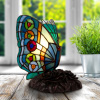 Tiffany Style Butterfly Lamp-Stained Glass Table or Desk Light LED Bulb Included-Vintage Look Colorful Accent Decor by Lavish Home (Rounded Wings)