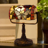 Tiffany Style Bankers Lamp-Stained Glass Butterfly Design Table or Desk Light LED Bulb Included-Vintage Look Colorful Accent Decor by Lavish Home