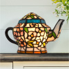 Teapot Lamp-Tiffany Style Stained Glass Table or Desk Light LED Bulb Included-Vintage Look Colorful Accent D�cor for Home or Office by Lavish Home