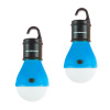 Portable LED Tent Light Bulb- 2 Pack Hanging Lights with 3 Settings and 60 Lumen By Wakeman Outdoors (Blue) (For Camping Hiking Tents and Emergency)