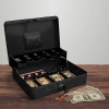 Cash Box ? Locking Steel Petty Cash Safe with Coin Tray and Spring-Loaded Money Clips for Yard Sale, Market and Concession Stand by Stalwart (Black)