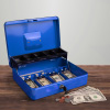 Cash Box ? Locking Steel Petty Cash Safe with Coin Tray and Spring-Loaded Money Clips for Yard Sale, Market and Concession Stand by Stalwart (Blue)
