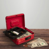 Cash Box ? Locking Money Safe with Removable 5 Slot Coin Tray and Combination Entry for Yard Sales, Markets and Concession Stands by Stalwart (Red)