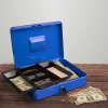 Cash Box ? Locking Petty Cash Safe with Removable 5 Slot Coin Tray and Key Entry for Yard Sales, Markets and Concession Stands by Stalwart (Blue)
