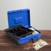 Cash Box ? Locking Steel Petty Cash Safe with Removable Coin Tray and Key Entry for Yard Sales, Markets and Concession Stands by Stalwart (Blue)