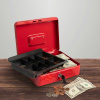 Cash Box ? Locking Steel Petty Cash Safe with Removable Coin Tray and Key Entry for Yard Sales, Markets and Concession Stands by Stalwart (Red)