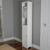 Linen Tower- 67? Tall Bathroom or Laundry Room Storage Cabinet with Cubbyhole Divider for Towels-Adjustable Shelves & Cupboard by Lavish Home (White)