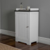 Bathroom Floor Cabinet- 29? Free Standing White Storage Cupboard for Bath Towels or Laundry Room Adjustable Shelf & Slatted Look Door by Lavish Home
