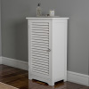 Bathroom Floor Cabinet-Free Standing Storage Cupboard for Towels or Laundry Room-Adjustable Shelf & Shutter Style Reversible Door by Lavish Home