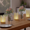 LED Candles with Remote Control-Set of 3 Lace Detailed, Vanilla Scented Wax, Realistic Flameless Pillar Lights-Ambient Home Decor by Lavish Home