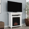 Electric Fireplace TV Stand? 29? Freestanding Console with Shelf, Faux Logs and LED Flames, Space Heater Entertainment Center by Northwest (White)