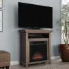 Electric Fireplace TV Stand? 29? Freestanding Console with Shelf, Faux Logs and LED Flames, Space Heater Entertainment Center by Northwest (Gray)