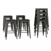 Metal Bar Stool Set-24? Counter Height, Set of 4 Stackable Stools with Solid Square Elm Wood Seat, Farmhouse Backless Style by Lavish Home (Bronze)