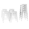Metal Bar Stool Set-24? Counter Height, Set of 4 Stackable Stools, Square Industrial Seat, Farmhouse Backless Style by Lavish Home (White)