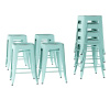 Metal Bar Stool Set-24? Counter Height, Set of 4 Stackable Stools, Distressed Antique Finish, Industrial Backless Style by Lavish Home (Teal)