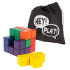 Geometric Puzzle Cube ? Colorful Wooden Block Spatial Learning and Logic Toy for Kids and Toddlers for STEM Education with Storage Bag by Hey! Play!