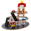 Parking Garage Toy-3 Level Wooden Service Station Playset-Working Elevator Lift, Ramps, 2 Gas Pumps & 4 Vehicles (Car, Truck, Van, Taxi) by Hey! Play!