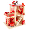Fire Station Playset- Wooden Firehouse, Truck, Helicopter & 16 More Fun Firefighting Accessories, 3-Level Pretend Play Dollhouse by Hey! Play!
