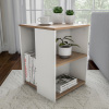 End Table ? Minimalist Two-Toned Cube Accent Side Table with Open Shelves for Bedroom, Living Room or Office by Lavish Home (Brown/White)