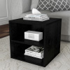 End Table ? Stackable Contemporary Minimalist Modular Cube Accent Table Double Shelves for Bedroom, Living Room or Office by Lavish Home (Black)