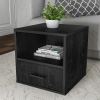 End Table ? Stackable Contemporary Minimalist Modular Cube Accent Table with Drawer for Bedroom, Living Room or Office by Lavish Home (Black)