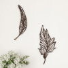 Wall Decor-Set of Two Metal Feather Hanging Wall Art Laser Cut Contemporary Nature Sculpture for Living Room, Bedroom, Kitchen by Lavish Home (Brown)