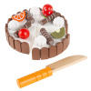 Birthday Cake-Kids Wooden Magnetic Dessert with Cutting Knife, Fruit Toppings, Chocolate and Vanilla Swirls-Fun Pretend Play Party Food by Hey! Play!