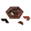Hexagon Block Puzzle-11 Piece Tangram Jigsaw Toy, Wooden Geometric Shape Brain Teaser Game with Storage Tray for Kids, Teens & Adults by Hey! Play!