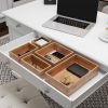 Drawer Organizer ?5 Compartment Modular Natural Wood Bamboo Space Saver Tray Storage for Kitchen, Office, Bedroom and Bathroom by Lavish Home
