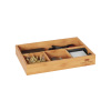 4 Compartment Bamboo Drawer Divider ? Space Saving Natural Wooden Tray Storage Organizer for Kitchen, Office, Bedroom and Bathroom by Lavish Home