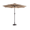 Villacera 9' LED Lighted Outdoor Patio Umbrella with 8 Steel Ribs and Push Button Tilt, Solar Powered Market Umbrella, Beige