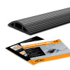 Floor Cable Cover - 10 Ft Black Duct Cord Protector Covers Cables, Cords, or Wires - 3 Channel On Floor Raceway for Sidewalks or Walkways (10 ft)