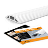 Floor Cord Protector Covers Cables, Cords, or Wires - 3 Channel for Sidewalks or Walkways, for Home or Office Doorways (White 4 Ft)