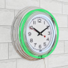 Neon Wall Clock- 14? Round, Double Light Ring, Dual Power, Analog Quartz Timepiece- Retro D�cor for Bar, Garage & Game Room by Lavish Home (Green)
