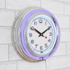 Neon Wall Clock- 14? Round, Double Light Ring, Dual Power, Analog Quartz Timepiece- Retro D�cor for Bar, Garage & Game Room by Lavish Home (Purple)