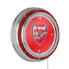 Premier League Chrome Double Rung Neon Clock - Arsenal