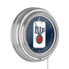 Miller Lite Chrome Double Rung Neon Clock - Minimalist Can